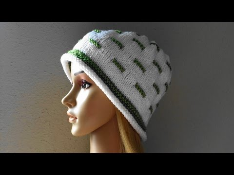 How To Knit A White And Green Hat, Lilu's Handmade Corner Video # 18