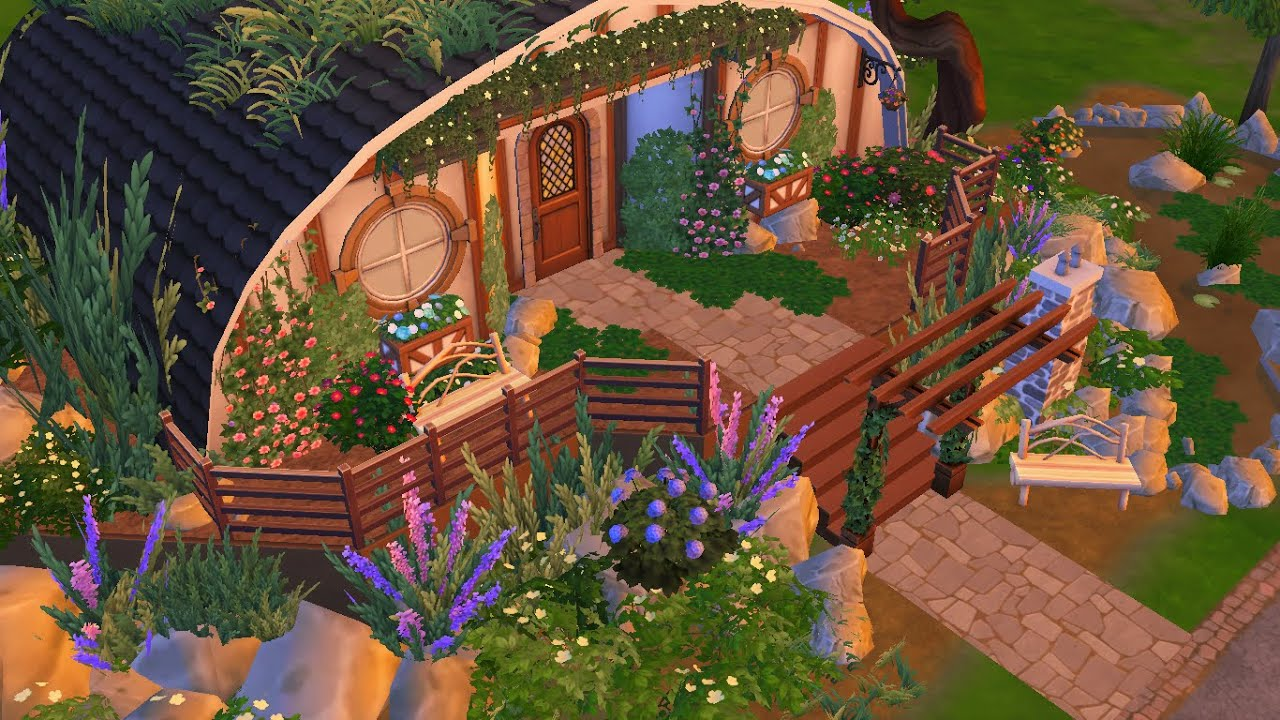 The sims 4 speed build hobbit home youtube for Hobbit style playhouse