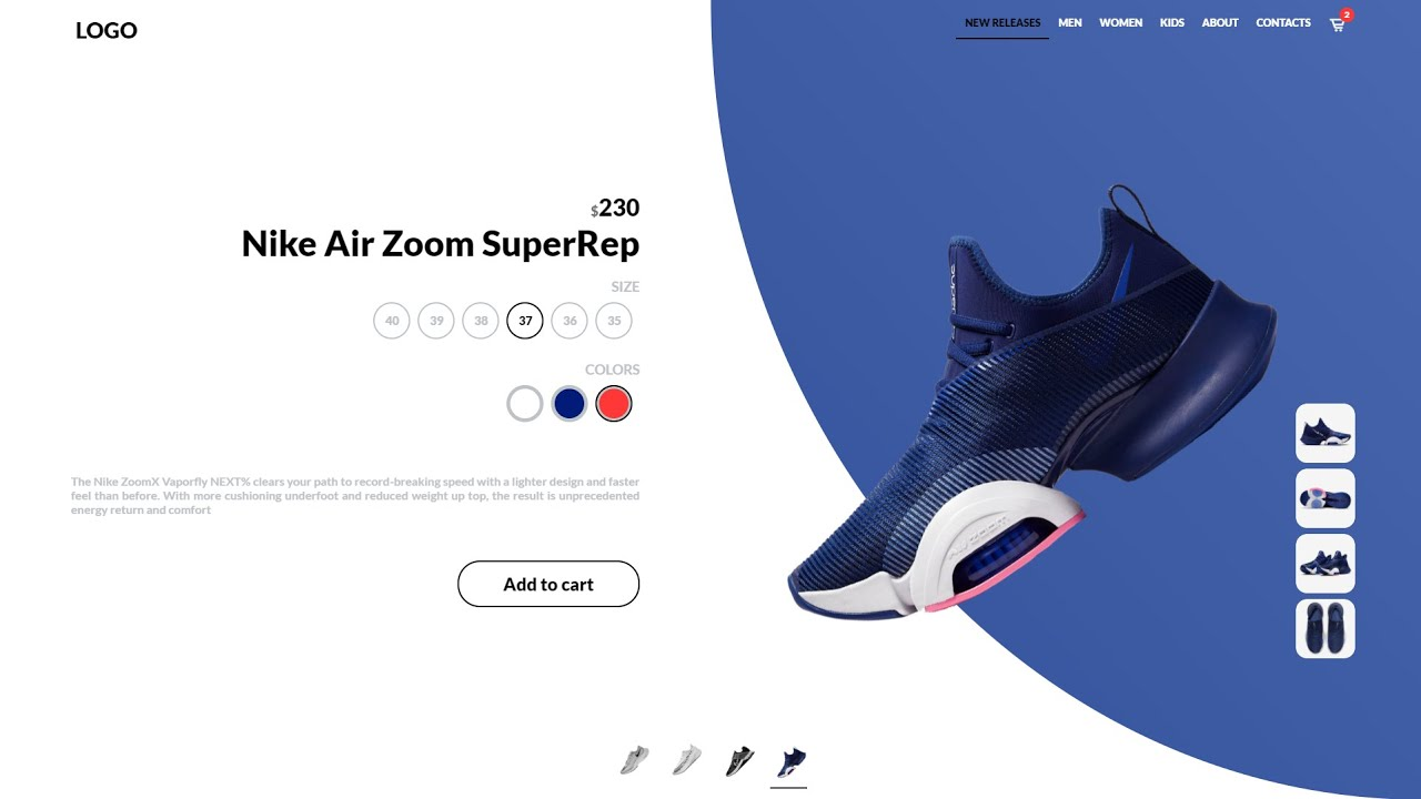 Make Animated Nike Shoes Landing Page with only HTML, CSS & JS