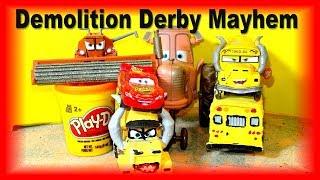 Pixar Cars Demolition Derby Cars 3 Crazy 8 with Miss Fritter Frank Mack Chester and Cruz Ramirez