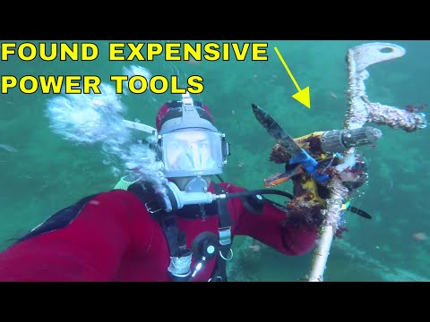 Underwater treasure hunting In the River - Found Expensive Power Tools While Scuba Diving