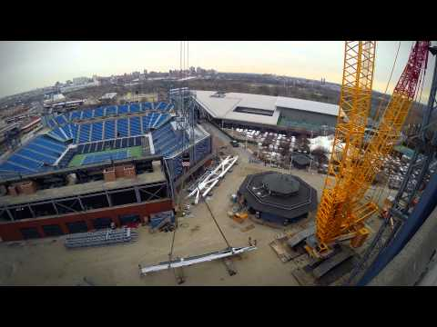 Roof taking shape over Arthur Ashe Stadium