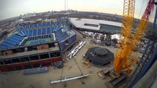 Roof taking shape over Arthur Ashe Stadium