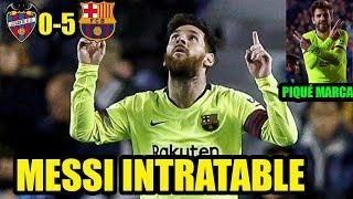 Levante vs Barcelona 0-5 | Messi hattrick y marcan suárez y Piqué