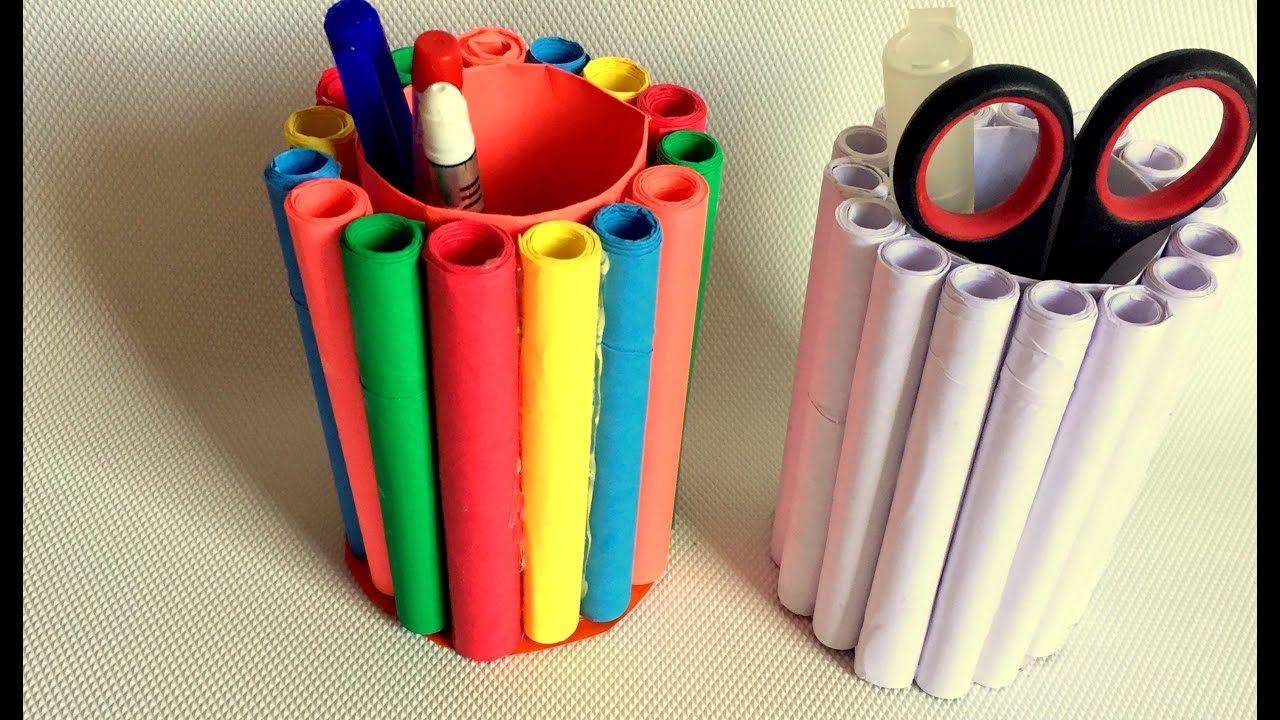Diy How To Make Pen Stand Pencil Holder Desk Organiser From Paper You