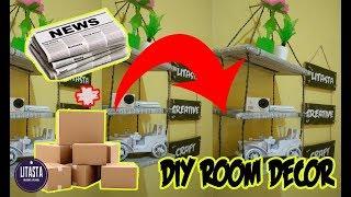 Keren!! ide kreatif membuat rak gantung dari bahan kardus dan koran bekas | DIY ROOM DECOR