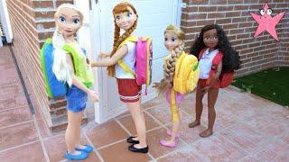 """Elsa y Anna Primer día de colegio en la vida real """"real life"""" (Princesas Disney)"""