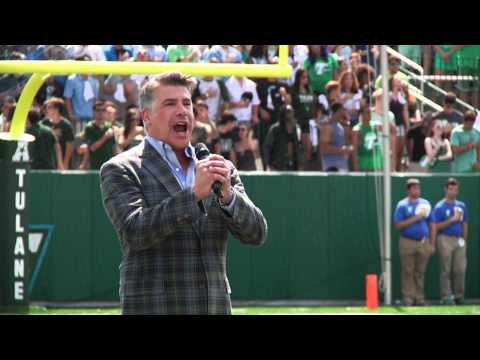 Bryan Batt sings the National Anthem at Yulman Stadium, Sept. 6, 2014