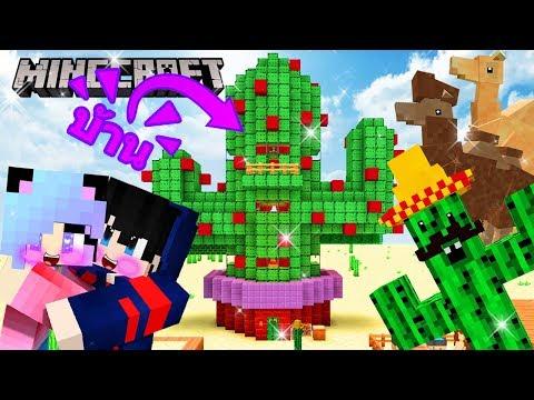Minecraft สร้างบ้านจากกระบองเพชร เลี้ยงอูฐกลางทะเลทรายปลูกต้นกระบองเพชรกินได้สุดร้อน