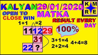 KALYAN MATKA OPEN TO CLOSE PASS *29/01/2020*JODI PASS VIP STRONG LINE TIPS