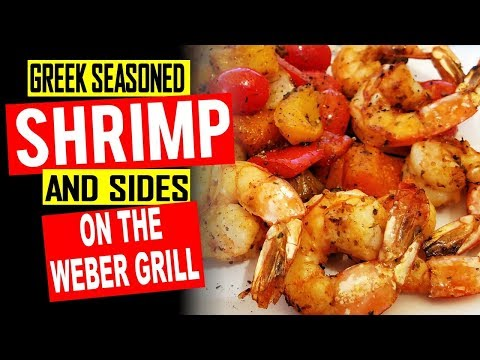 Grilled Greek Seasoned Shrimp and Vegetables
