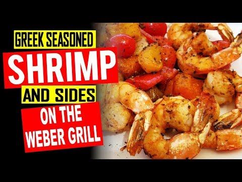 Grilled Greek Seasoned Shrimp and Vegetables - Weber Kettle