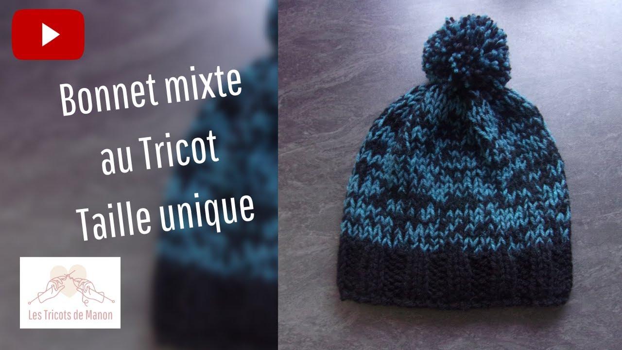 66f71844f54 Bonnet Adulte Mixte au tricot - YouTube