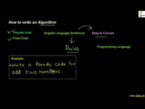 How to write an Algorithm , Computer Science Lecture | Sabaq.pk |