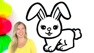 Coloring Cute Bunny with Paint and Drawing for Kids