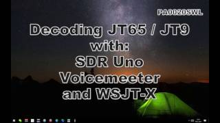 shortwave decoding jt65 with sdr uno voicemeeter and wsjt x