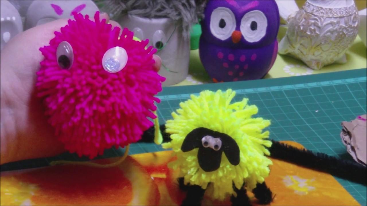 Schaf Und Ei Aus Pompons Basteln