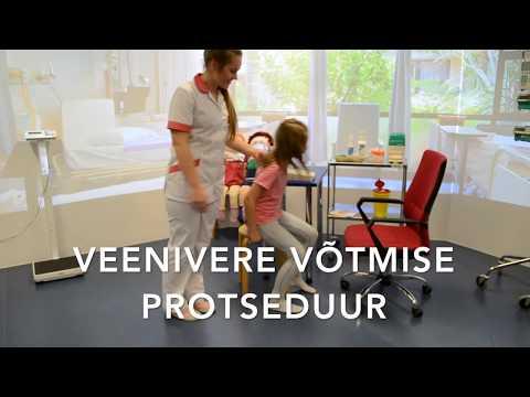 ÕPPEVIDEO   Noorema kooliealise lapse veenivere võtmise protseduur  õppevideo
