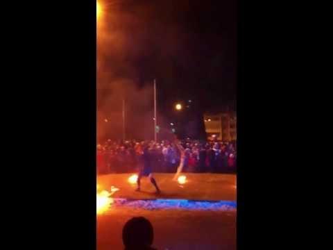 Огненное шоу на открытии Амиталь в Нововоронеже