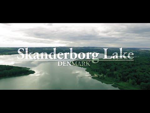 Skanderborg Lake, Denmark. 4k Drone video.