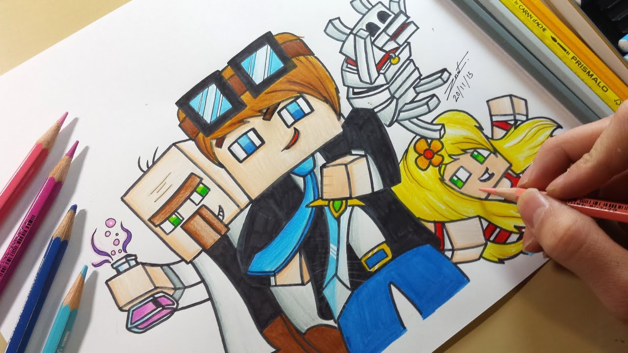Drawing Dantdm Dr Trayaurus Grim Amp Jemma Youtube