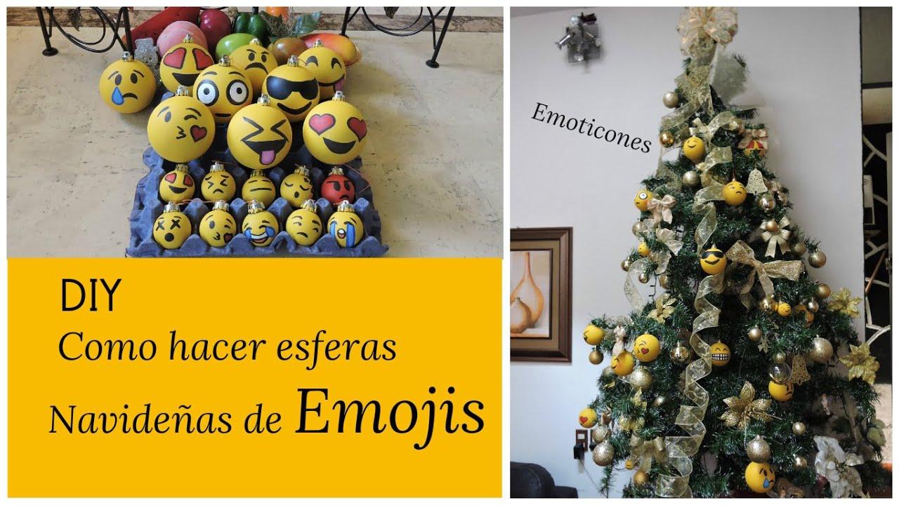 Diy como hacer esferas navide as de emojis youtube - Como hacer un centro de navidad ...