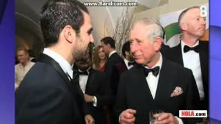 Cesc Fàbregas y Daniella Semaan junto al Príncipe Carlos de Inglaterra