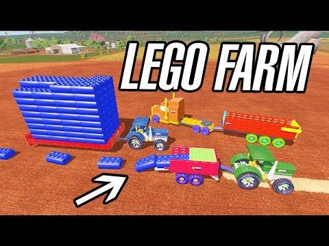 Farming Simulator 17   LEGO FARM!! LEGO : TRUCK , TRACTOR , TRAILER, BALER, BALE...
