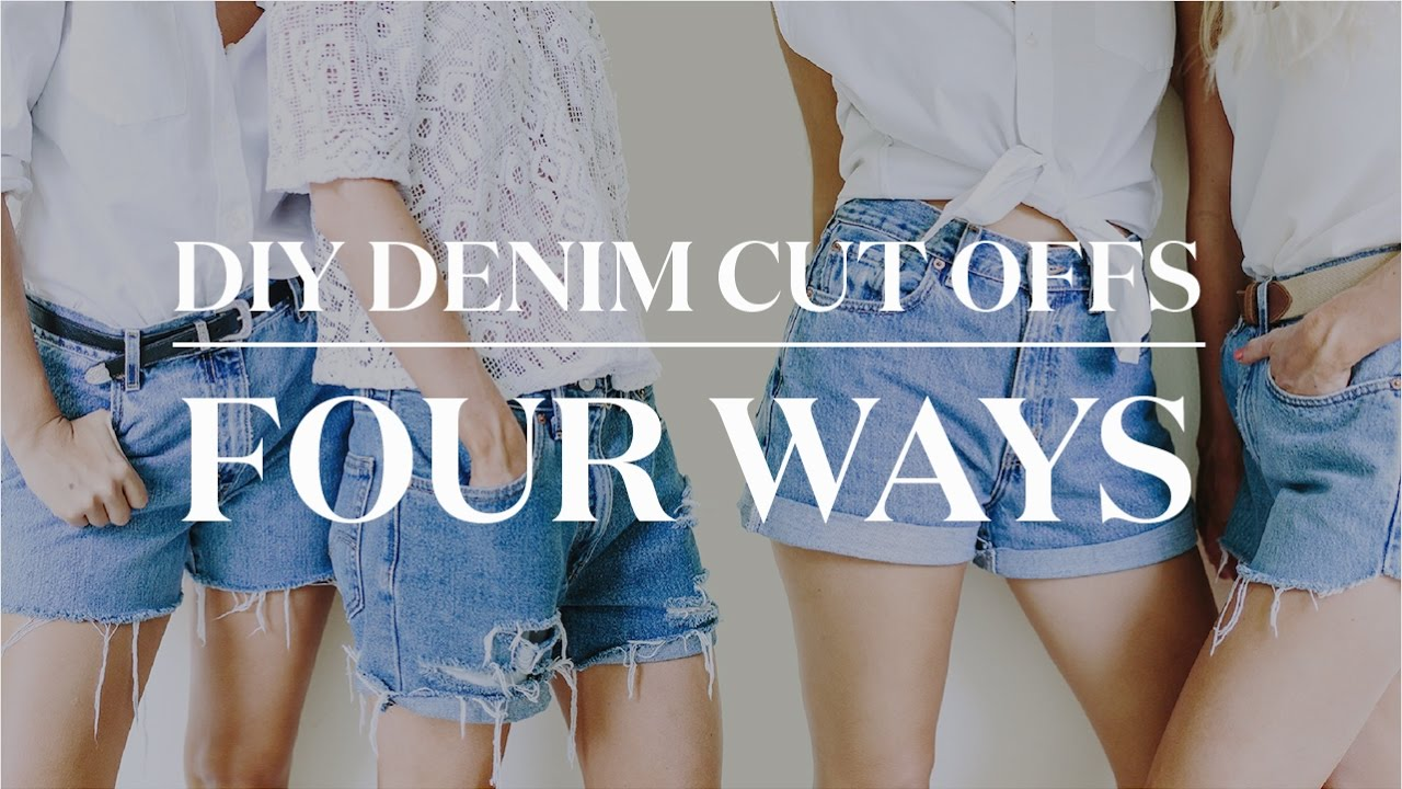 4 Ways to Make DIY Denim Cut Off Shorts - YouTube