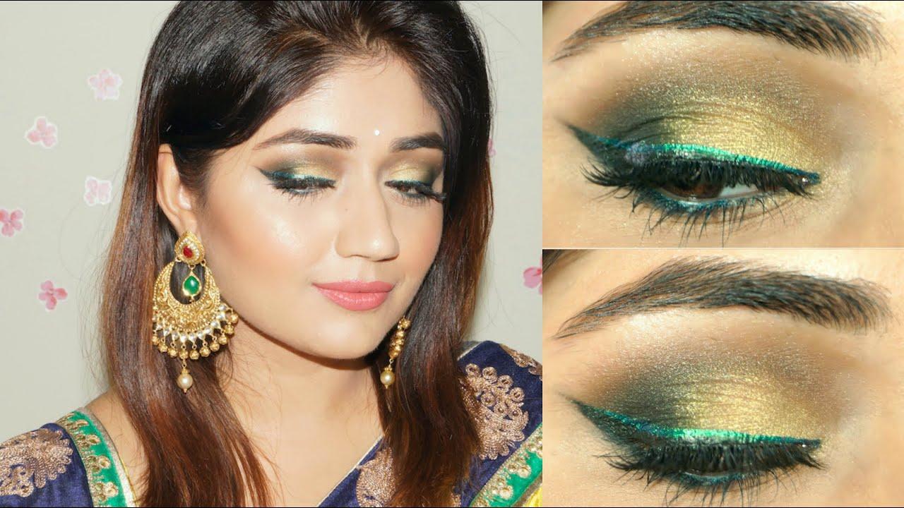 Gold Green Smoky Eye Indian Festive Makeup Tutorial Corallista