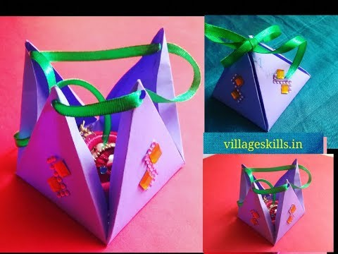 DIY Return gift box making ideas,how to make jewellery box,pyramid gift box,diy art and craft ideas