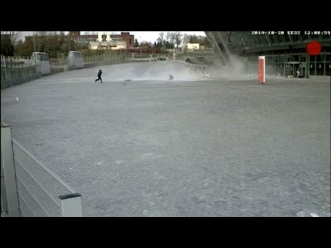 Girl Narrowly Escapes Falling Debris at Donetsk Stadium