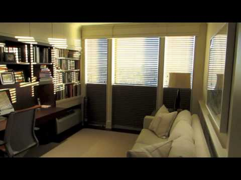 Home Office Motorized Blackout Shades With Wood Blinds