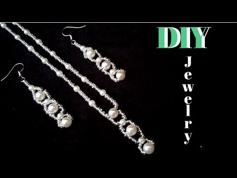 how-to-make-an-elegant-jewelry-set.-bridal-jewelry-set.-easy-beading-pattern.-pearl-jewelry-making