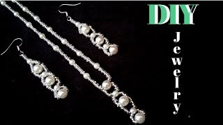 How to make an elegant jewelry set. Bridal jewelry set. Easy beading pattern. Pearl jewelry making
