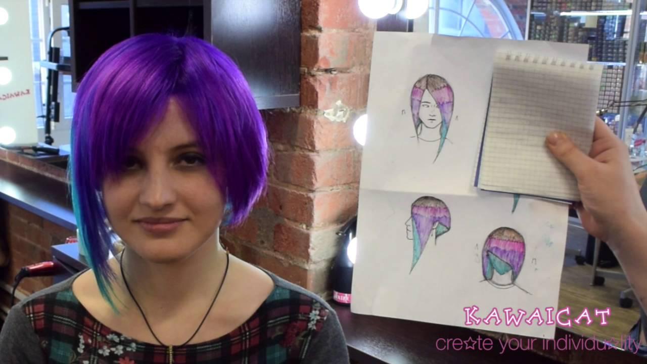 Двухцветное окрашивание волос на короткие волосы-фото