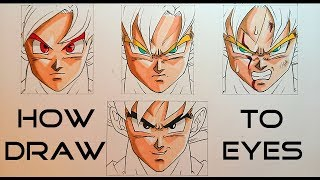 How To Draw Dragon ball Characters - EYES + Expressions