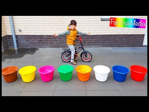 Thumbnail: Learn Numbers and Colors with Buckets for Children and Toddlers | Throw Colours Water Balloons Game