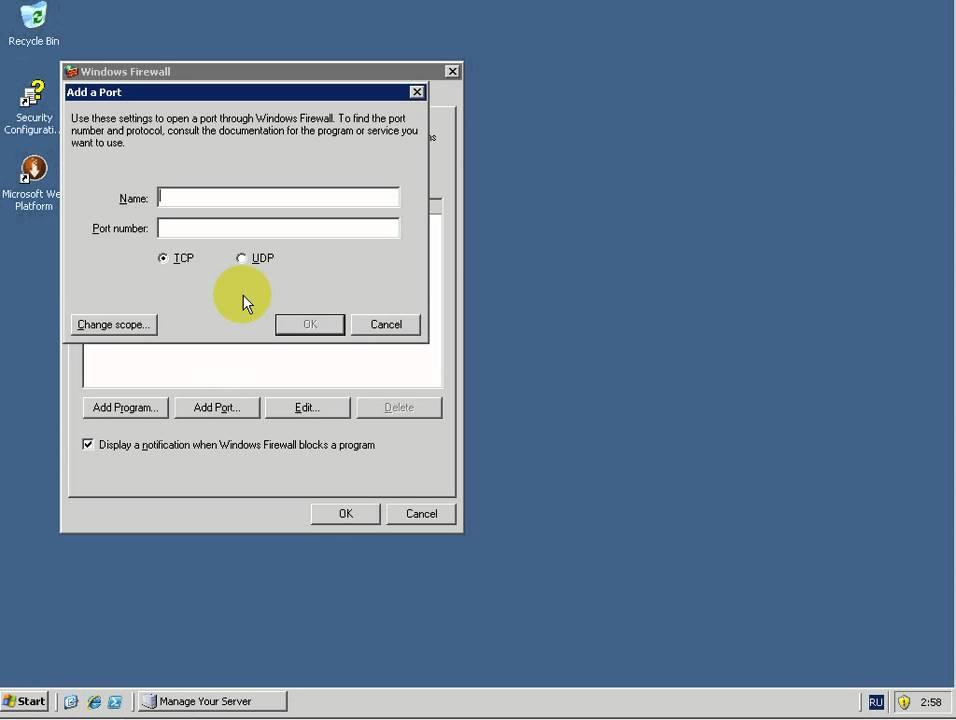 firewall windows 2003 server