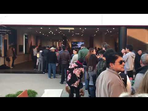 Tesla Model 3 Stanford Shopping Center Huge interest