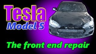 Tesla Model S. The front end repair. Ремонт переда.