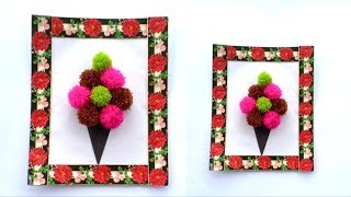 DIY EASY WAY TO MAKE A WALL DECORATION FROM A POMPOM | WOOLEN WALL DECORATION