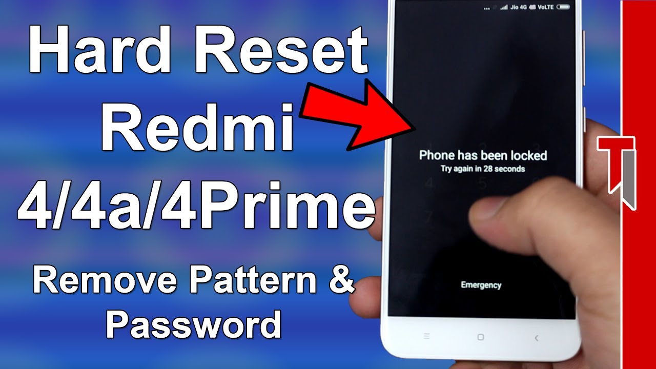 How to Hard Reset Redmi 4/ Redmi 4a | Hard reset All Redmi Devices | Remove  Pattern/ Password Lock