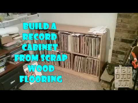 record cabinet from wood flooring scrap with simple tools. FREE PLANS. Cheap & Easy DIY project