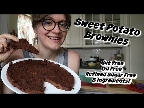 Sweet Potato Brownies [Nut free/Oil Free/Refined Sugar Free] Only 5 Ingredients!