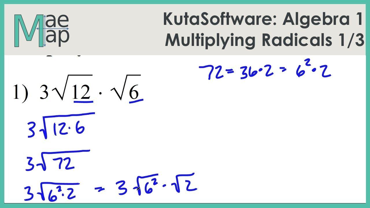 KutaSoftware: Algebra 22- Multiplying Radicals Part 22 Pertaining To Simplifying Radicals Worksheet 1