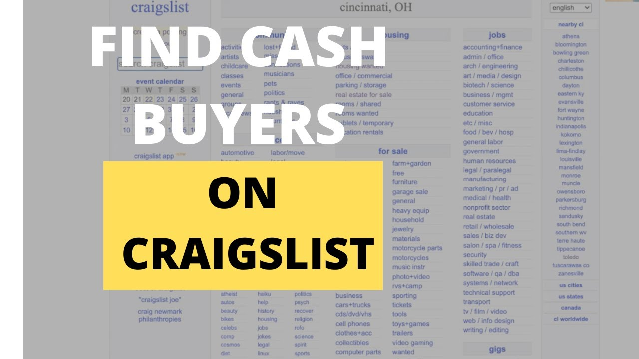 How To Find Cash Home Buyers On Craigslist Youtube We addressed it then and i'm happy to address it now. youtube
