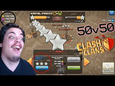 TİTRETTİK!! 50 KİŞİ AYNI ANDA KLAN SAVAŞI YAPTIK Clash of Clans