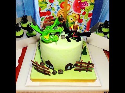 Студия Арт Кейк. Детский тортик на заказ с набором капкейков Как приручить дракона.