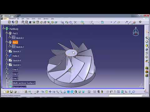 CATIA V5-HOW TO CREATE 3D IMPELLER BLADE(CAD CAM CAE CFD ANSYS FEA PROE 3DSMAX CREO UGNX)